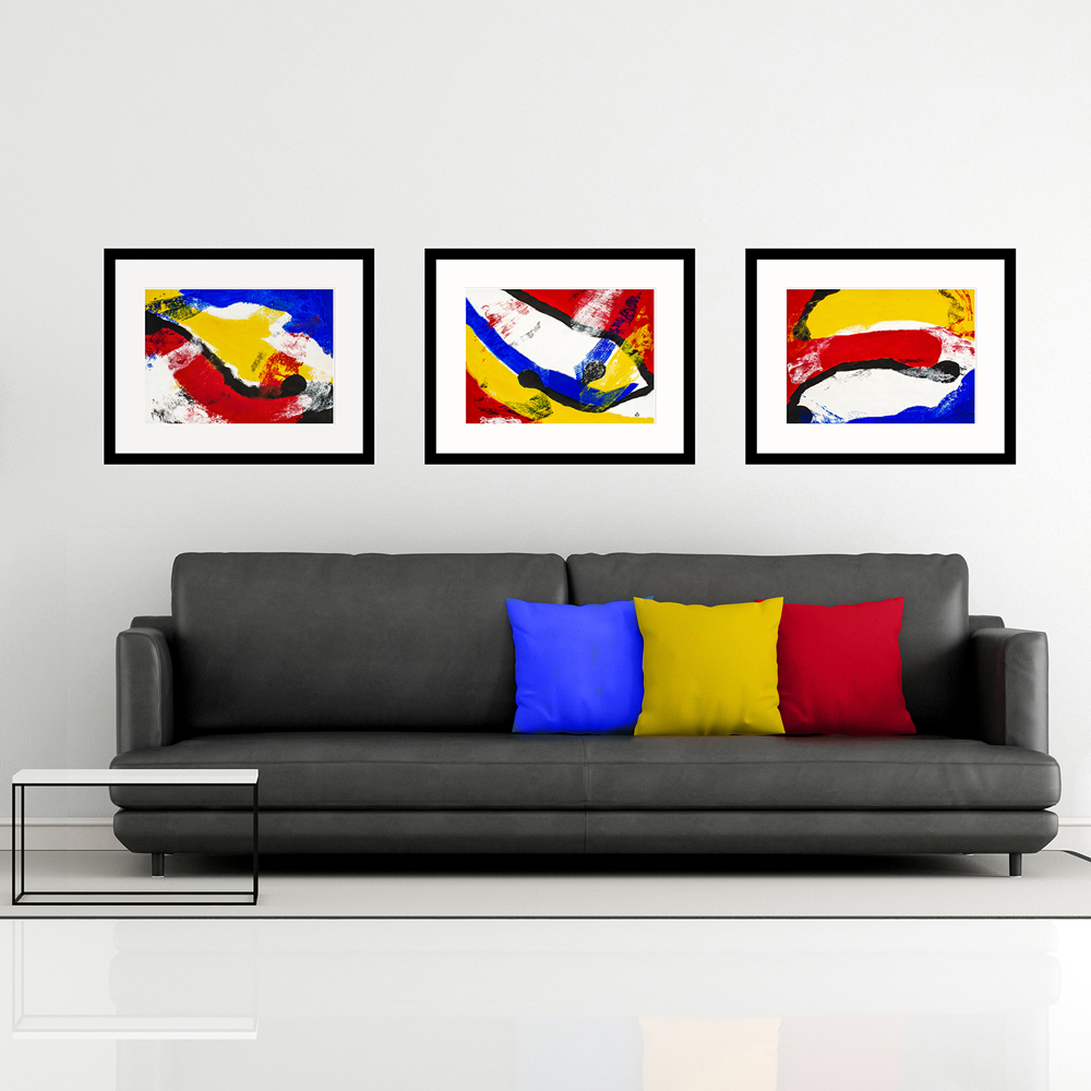 Early Swimmers Trio abstract art