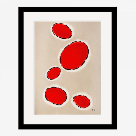Happy Cells Beige & Red Abstract Art