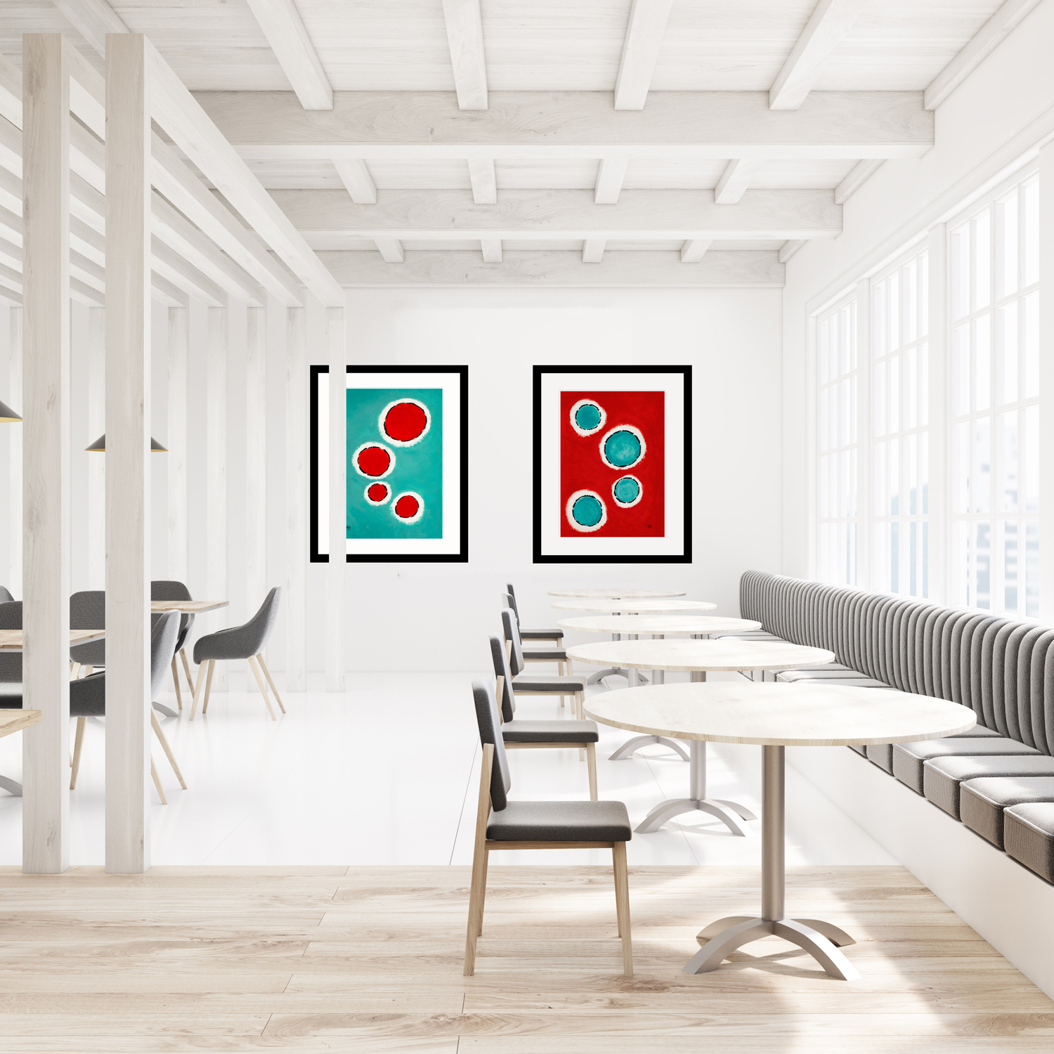 Happy-Cells-Jade-and-Red-duo-2-modern-art