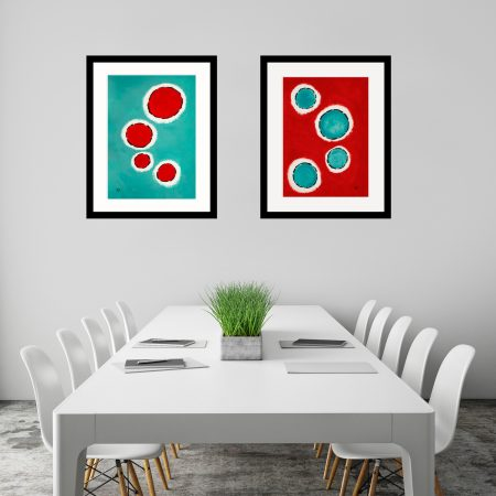 Happy-Cells-Jade-and-Red-abstract-art