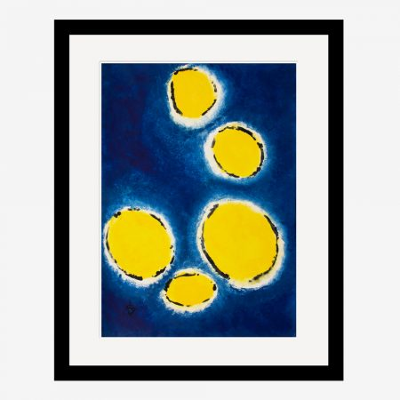 Happy Cells Navy & Yellow by Stef Kerswell