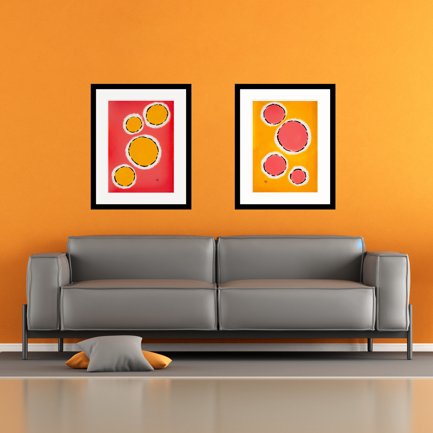 Happy-Cells-Peach-&-Coral-modern-art