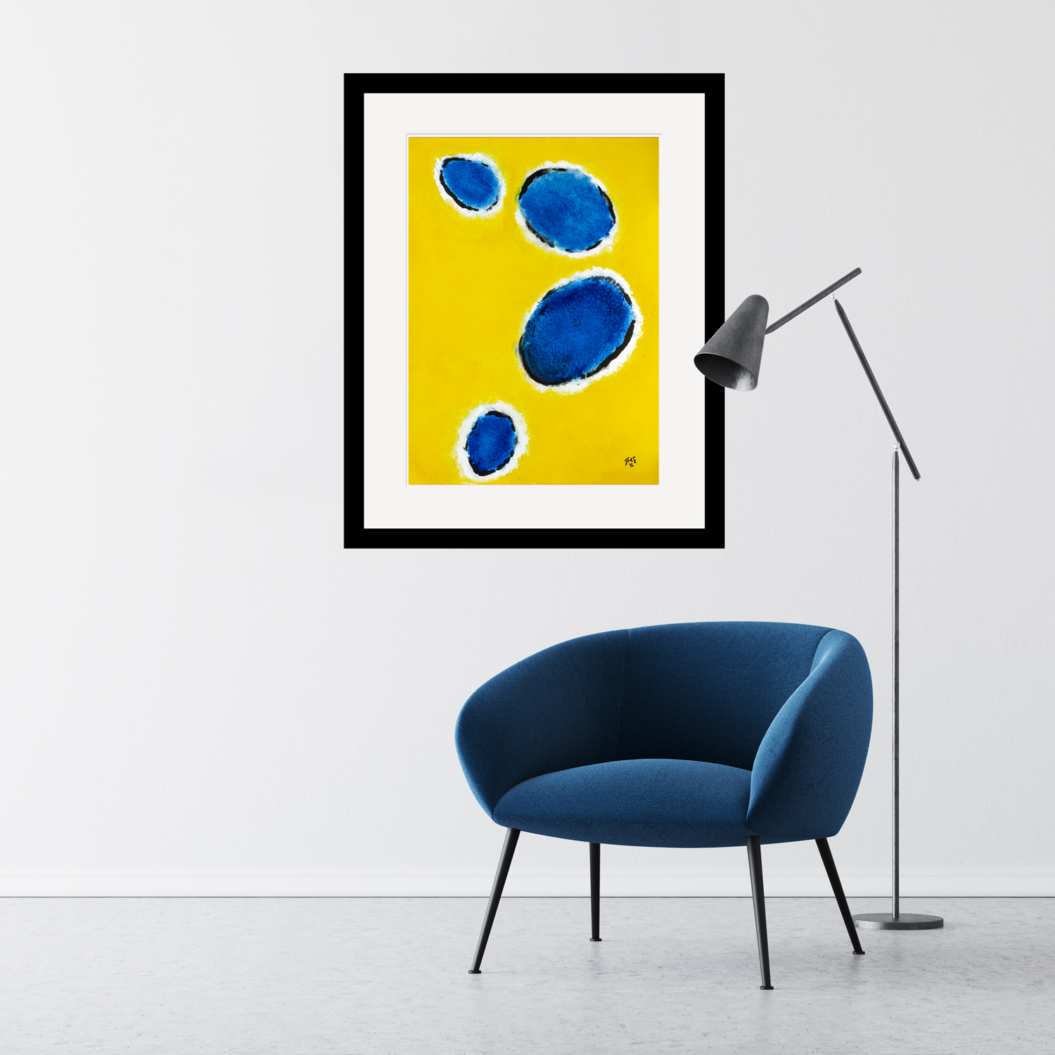 Happy-Cells-Yellow-&-Navy- painting