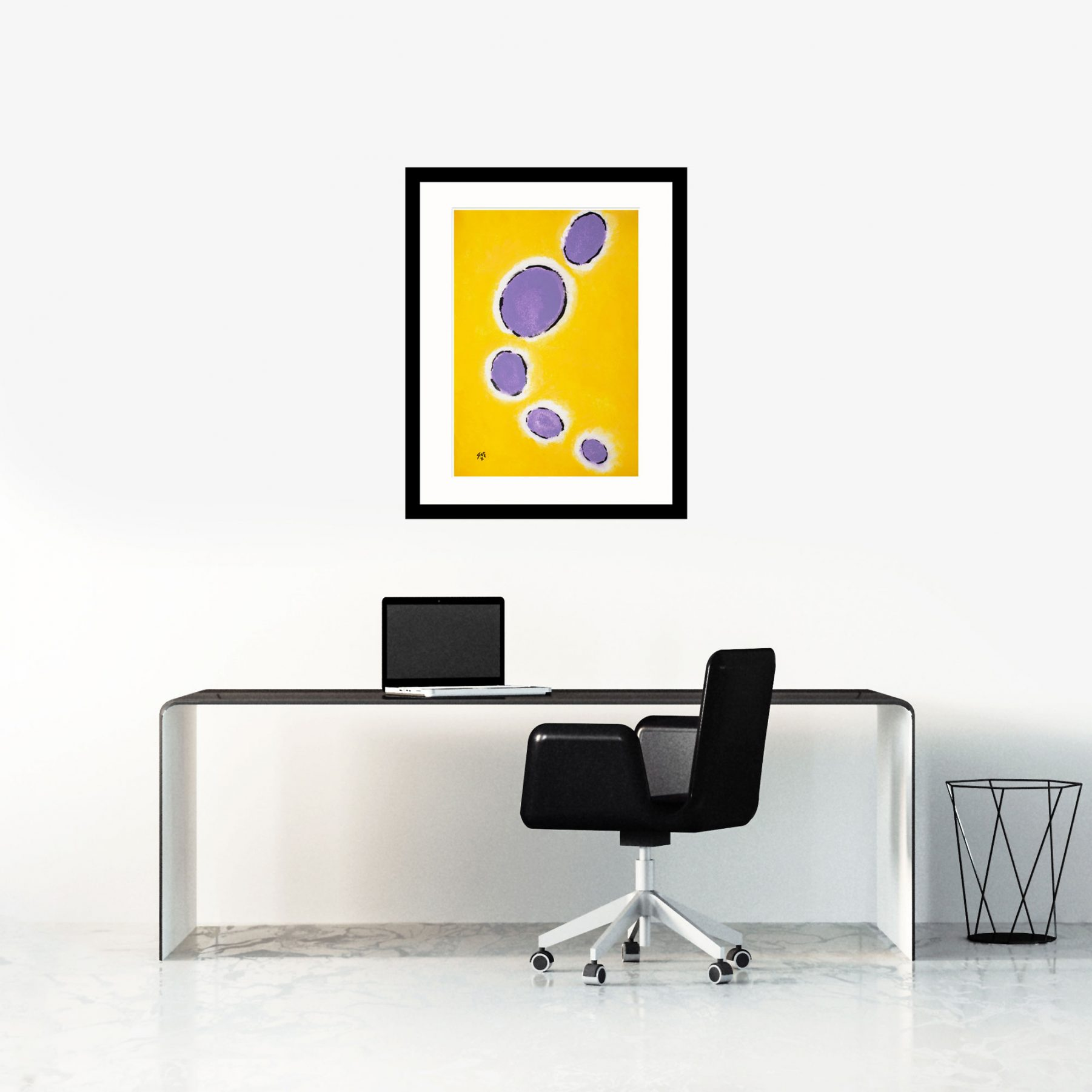 Happy Cells Yellow & Lilac modern art
