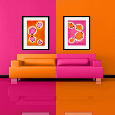 Happy-cells-pink-and-orange-modern-art