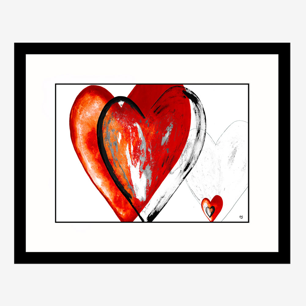 I Love Hearts abstract art by Stef Kerswell