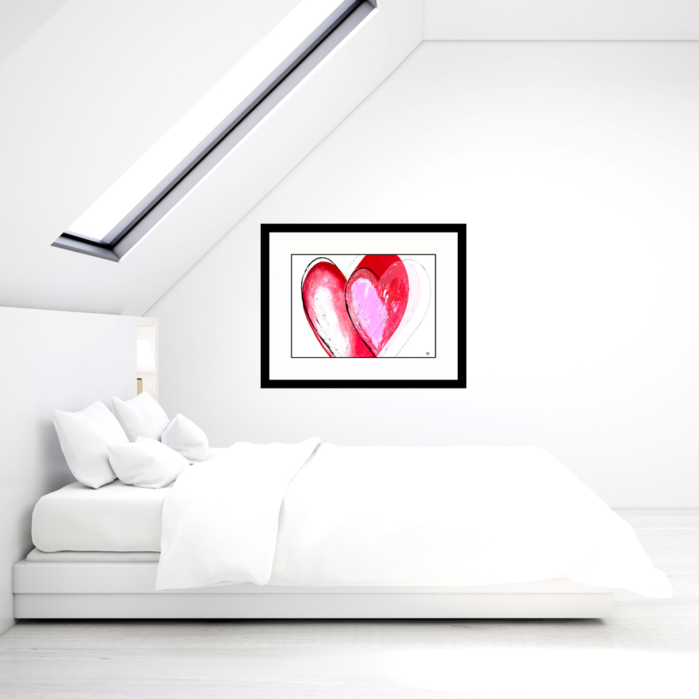 Abstract heart painting in white bedroom