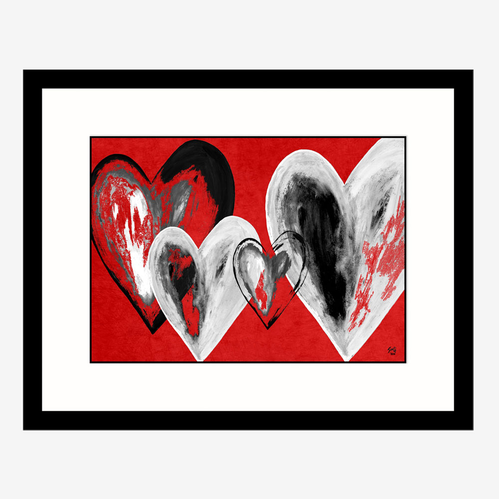 Sectret Hearts Abstract art by Stef Kerswell