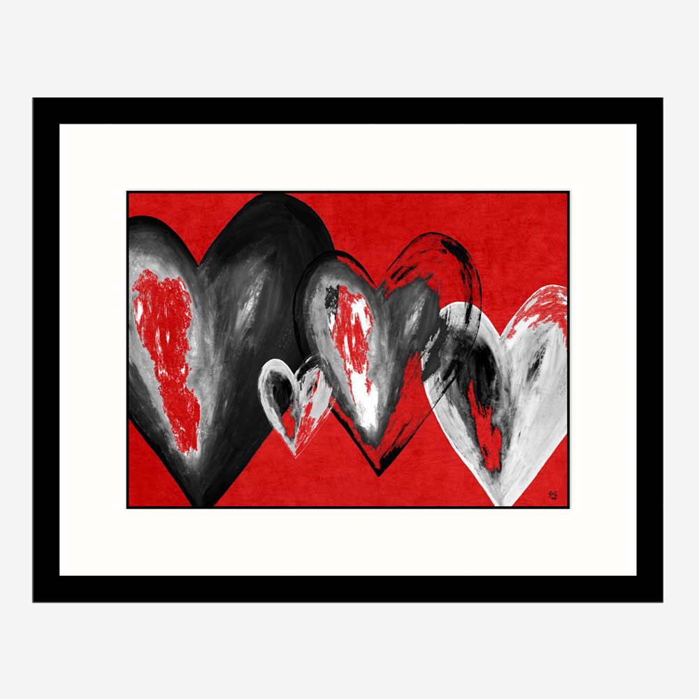 Sectret Hearts 2 Abstract art by Stef Kerswell