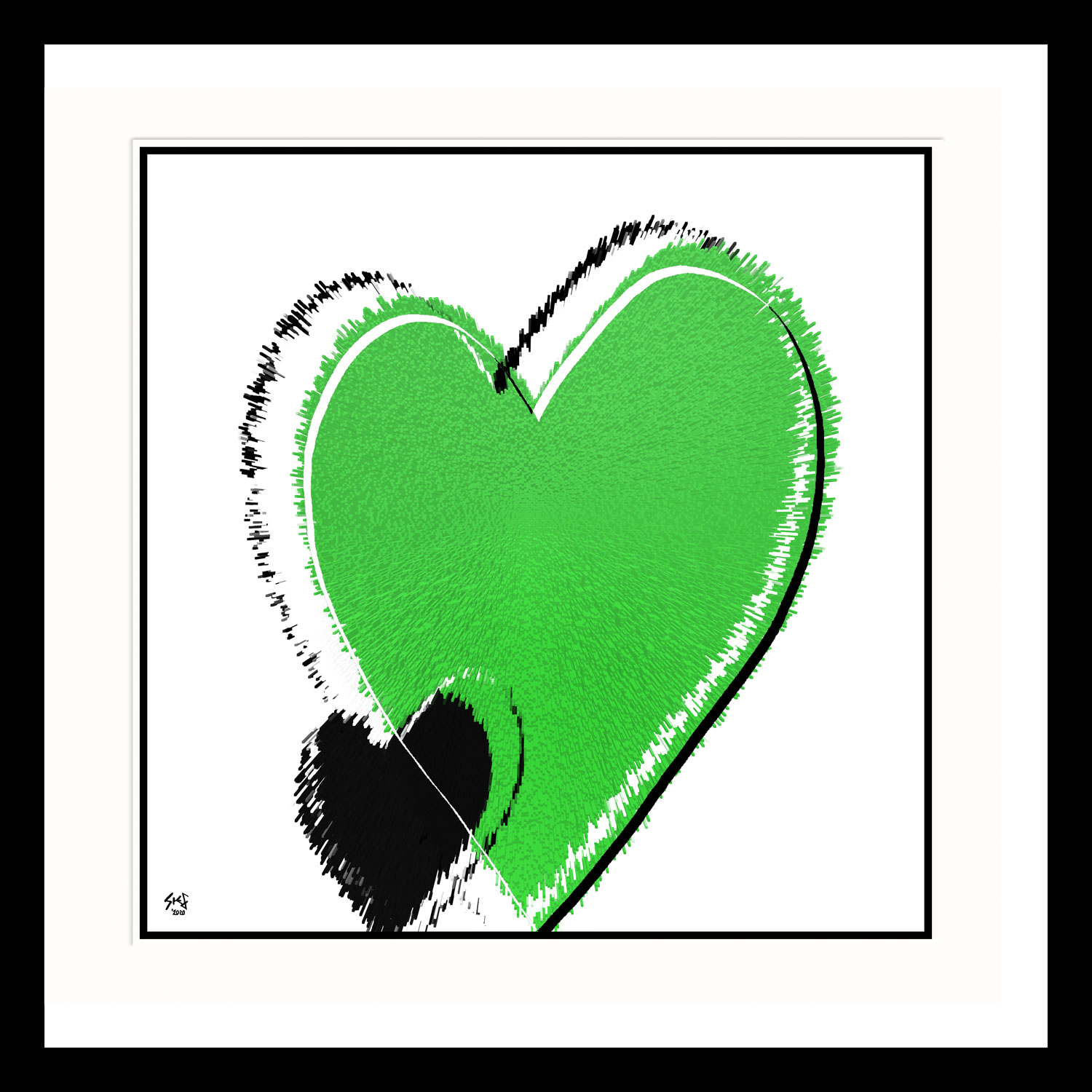 Simple-Love-Green Heart Abstract Art