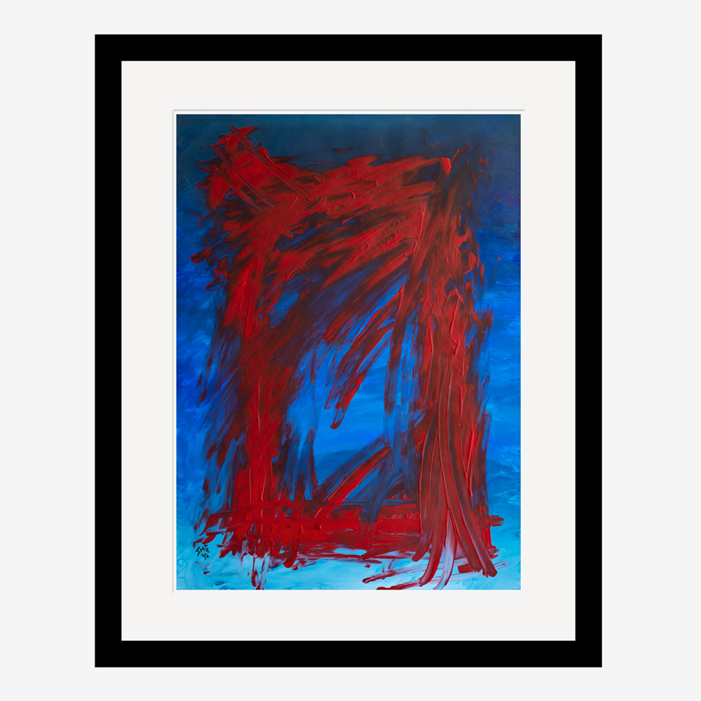 The Gateway Abstract painting in red and blue