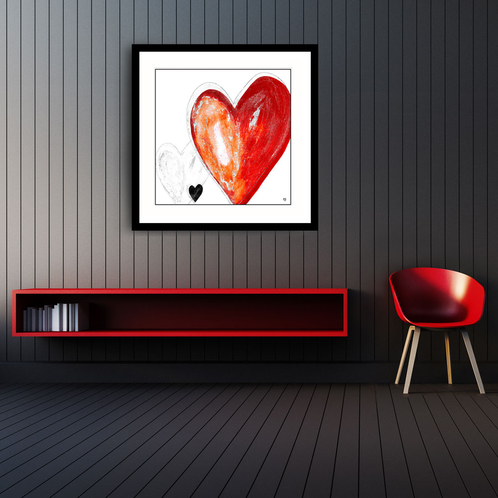 You're-in-my-heart-red red painting by Stef Kerswell